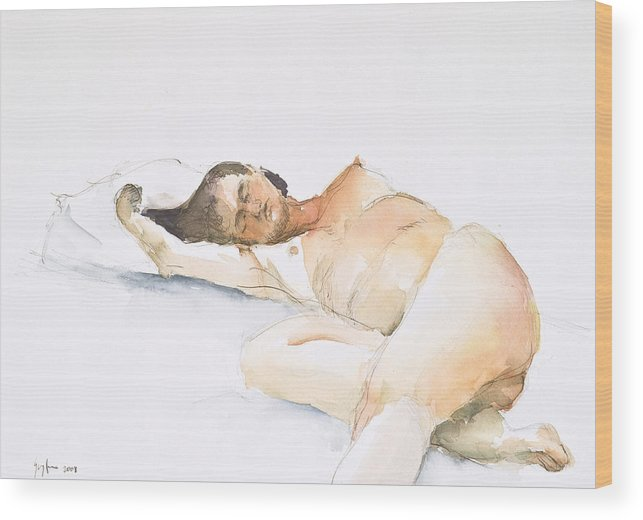 Sleeping Figure Wood Print featuring the painting Nude Series by Eugenia Picado