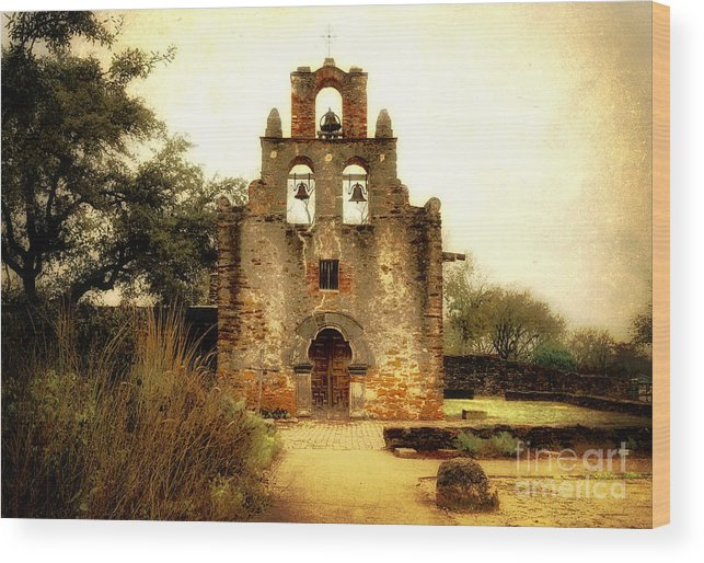 Missions Wood Print featuring the photograph Mission Espada by Iris Greenwell