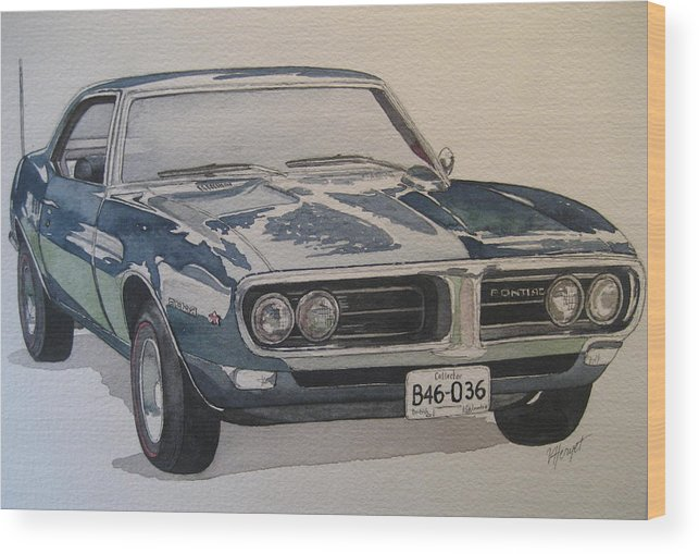 Muscle Car Wood Print featuring the painting 68 Firebird Sprint by Victoria Heryet