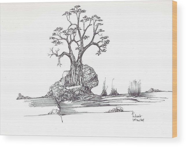 Tree Wood Print featuring the drawing A Tree A Rock And Some Grass by Padamvir Singh