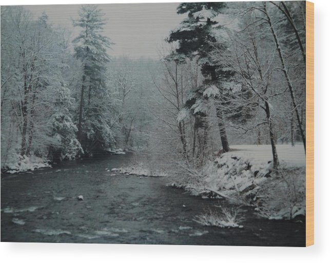 B&w Wood Print featuring the photograph A Winter Waterland by Rob Hans