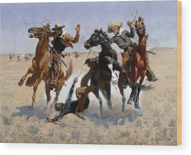 Aiding Wood Print featuring the painting Aiding A Comrade by Frederic Remington