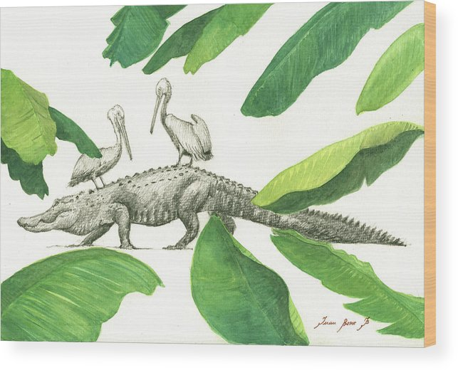 Alligator Art Wood Print featuring the painting Alligator With Pelicans by Juan Bosco