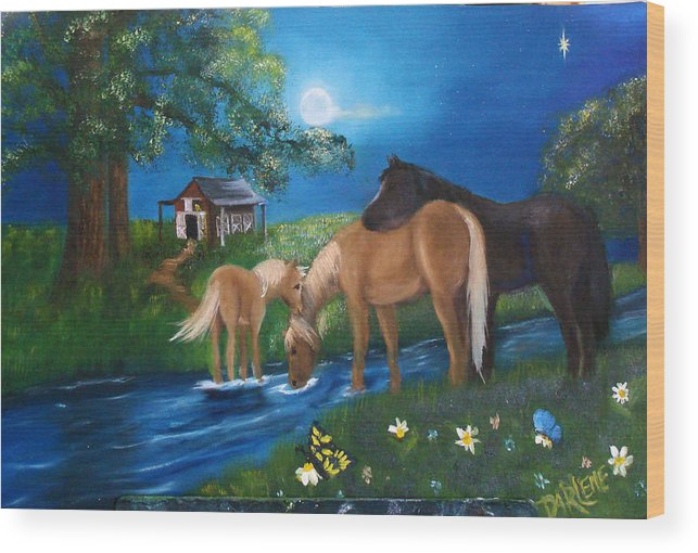 Midnight Wood Print featuring the painting Alyssas Horses by Darlene Green