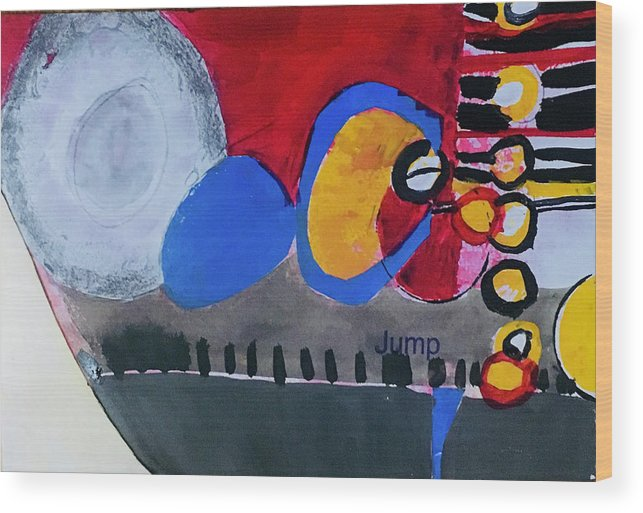 Abstract Expressionism Wood Print featuring the painting Amigos by Carole Johnson