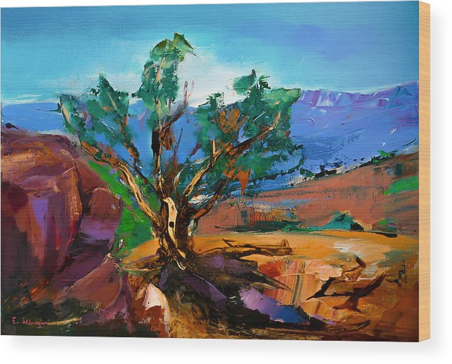 Sedona Wood Print featuring the painting Among The Red Rocks - Sedona by Elise Palmigiani