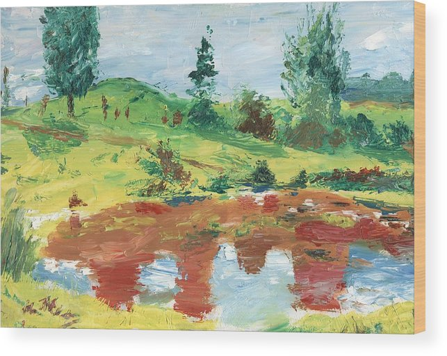 Landscape Wood Print featuring the painting An Upland Meadow by Horacio Prada