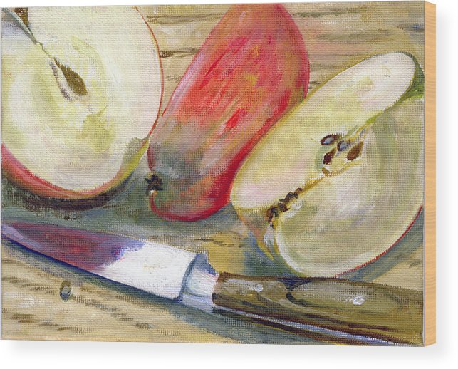 Still-life Wood Print featuring the painting Apple by Sarah Lynch