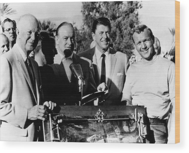 1960s Candids Wood Print featuring the photograph Arnold Palmer Right, Receives The Bob by Everett