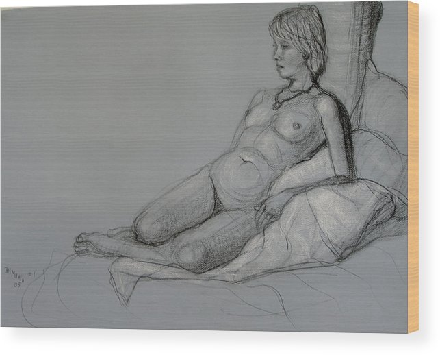 Realism Wood Print featuring the drawing Aroona 2 by Donelli DiMaria