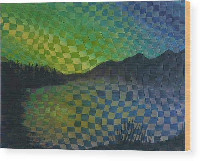Landscape Wood Print featuring the painting Aurora by Linda L Doucette