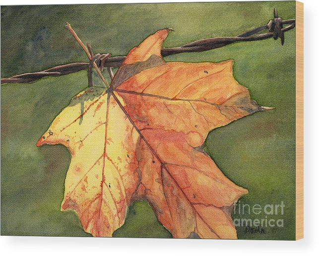 Autumn Wood Print featuring the painting Autumn Maple Leaf by Antony Galbraith