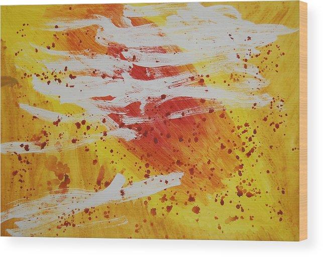 Abstract Wood Print featuring the painting Bailando En El Sol by Lauren Luna