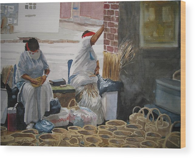 Market Street Wood Print featuring the painting Basketweavers by Shirley Braithwaite Hunt