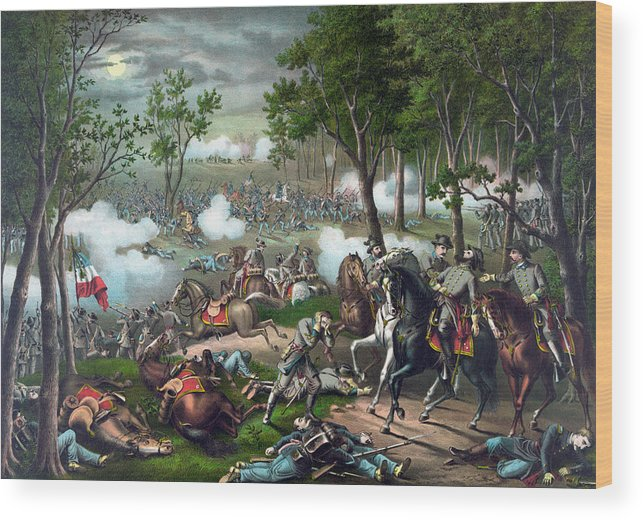 Civil War Wood Print featuring the painting Battle Of Chancellorsville - Death Of Stonewall by War Is Hell Store
