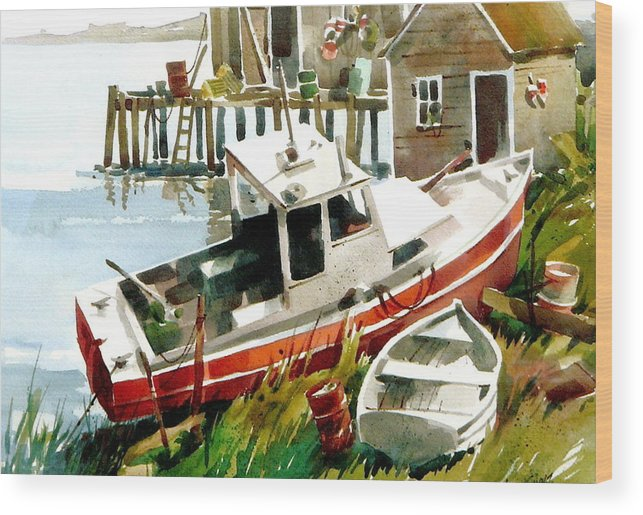 Old Boat Resting. Wood Print featuring the painting Beached by Art Scholz