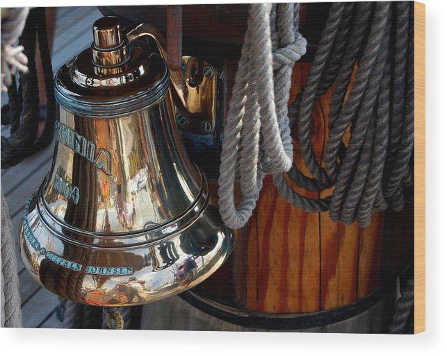 Schooner Wood Print featuring the photograph Bell On Schooner Virginia by Gene Sizemore