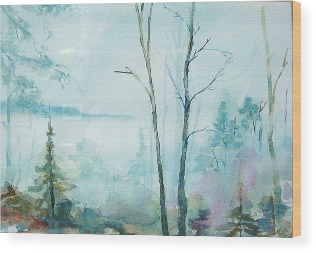 Mountain Landscape Wood Print featuring the painting Big Hill Morning by Kris Dixon