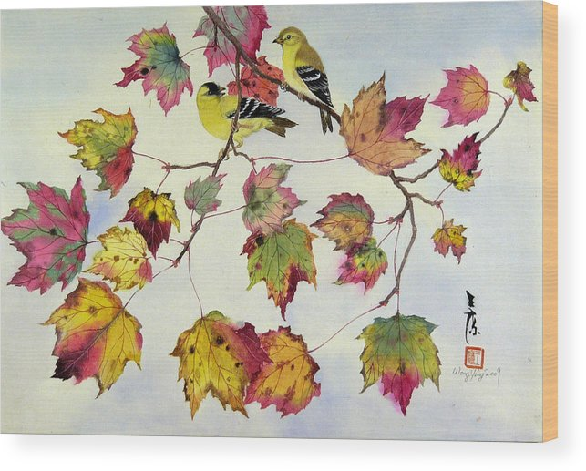 Bird Wood Print featuring the painting Birds On Maple Tree 10 by Ying Wong