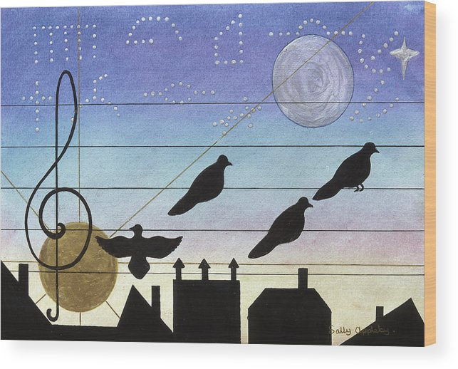 Music Wood Print featuring the mixed media Birds On Wires by Sally Appleby