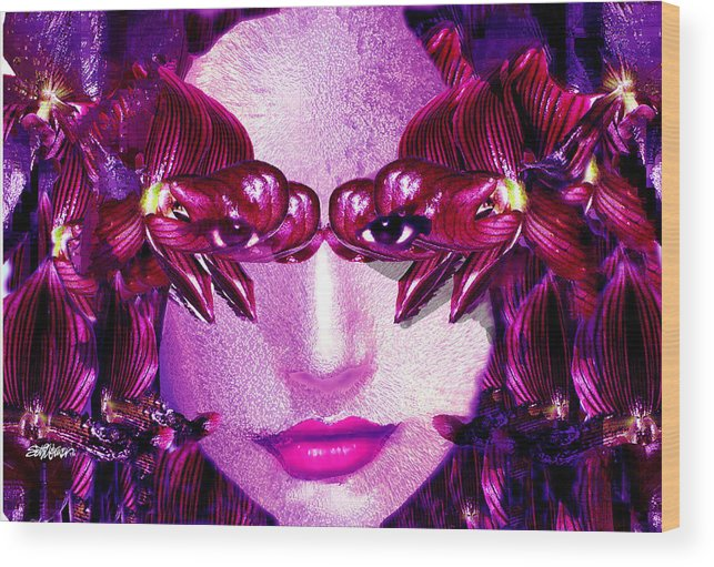 Oriental Wood Print featuring the digital art Black Orchid Eyes by Seth Weaver