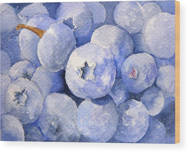 Fruit Wood Print featuring the painting Blueberries by Dorothy Nalls