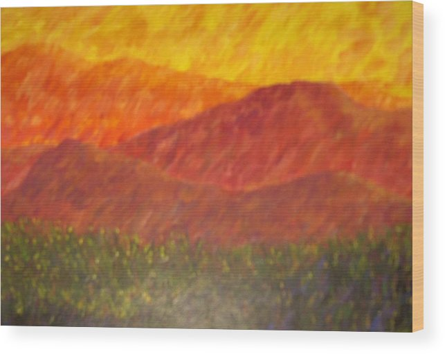 Landscape Hills Mountains Bright Wood Print featuring the painting Blur by Sally Van Driest