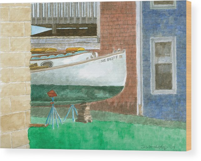 Boat Wood Print featuring the painting Boat Out Of Water - Portland Maine by Dominic White