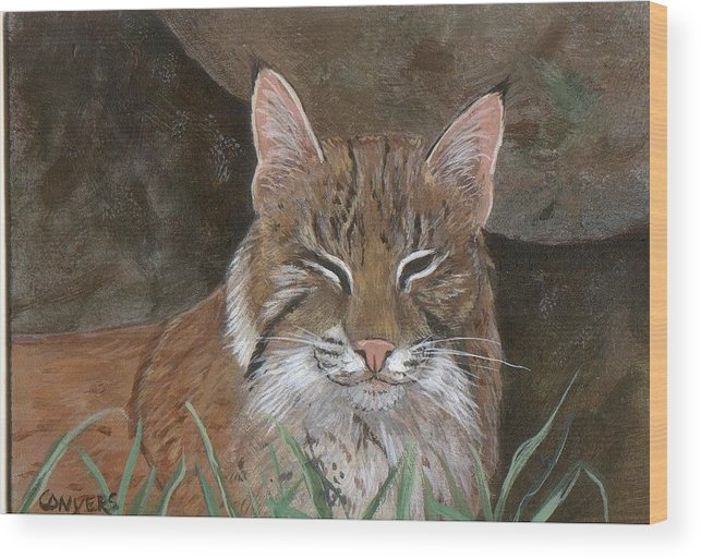 Cat Wood Print featuring the painting Bob Cat by Peggy Conyers
