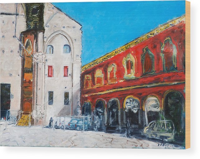 Cityscape Square Church Gallery White Red Blue Sky Wood Print featuring the painting Bologna Plaza by Joan De Bot