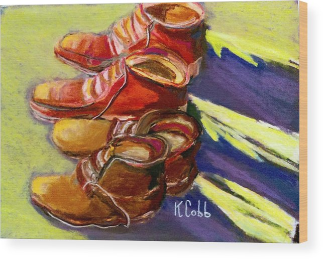 Art Wood Print featuring the pastel Boots by Katherine Cobb