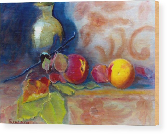 Still Life.brass Wood Print featuring the painting Brass And Peaches by Jeanene Stein