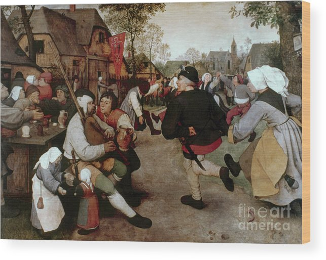 1567 Wood Print featuring the painting Bruegel, Peasant Dance by Granger