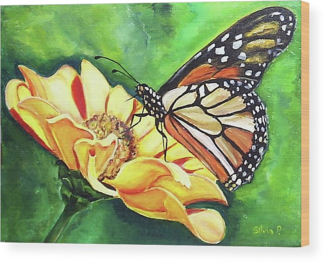 Daisy Wood Print featuring the painting Butterfly On Yellow Daisy by Silvia Philippsohn
