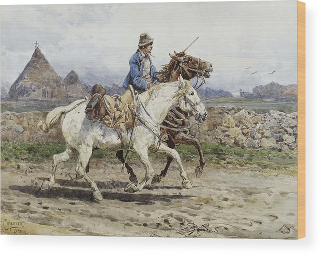 Buttero Riding In The Roman Campagna Wood Print featuring the painting Buttero Riding In The Roman Campagna by Celestial Images