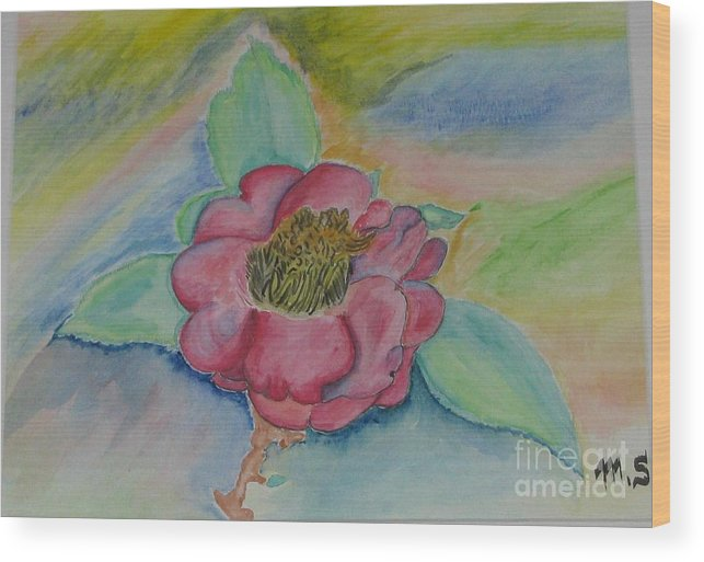 Flower Wood Print featuring the painting Camellia by Mark E Smith