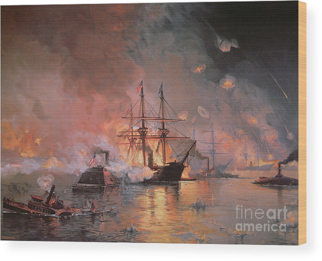 Capture Of New Orleans By Union Flag Officer David G. Farragut Wood Print featuring the painting Capture Of New Orleans By Union Flag Officer David G Farragut by Julian Oliver Davidson