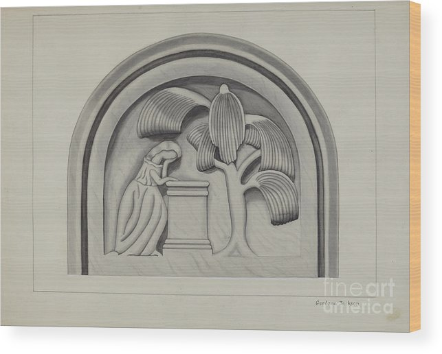 Wood Print featuring the drawing Carving For A Tombstone by Gordena Jackson