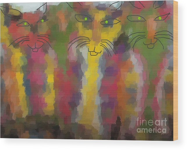 Cat Portraits Wood Print featuring the painting Cats by Don Phillips