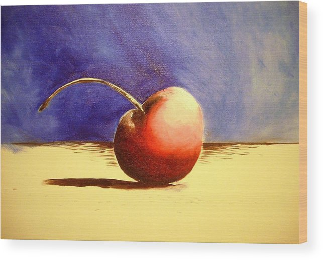 Cherry Art Wood Print featuring the painting Cherry 41 by Ruben Barbosa