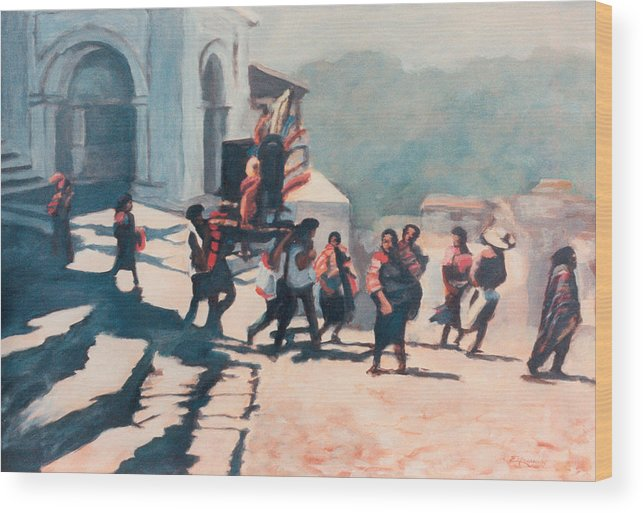 Mexica Wood Print featuring the painting Chichicastenango Procession by Emiliano Campobello