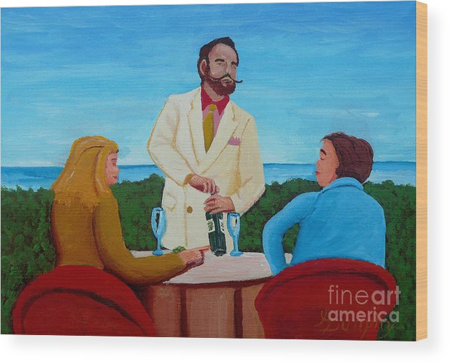 Wine Wood Print featuring the painting Choosing The Wine by Anthony Dunphy
