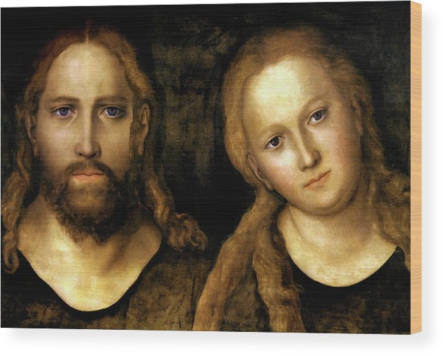 Christ And Mary Wood Print featuring the painting Christ And Mary by Lucas Cranach the Elder