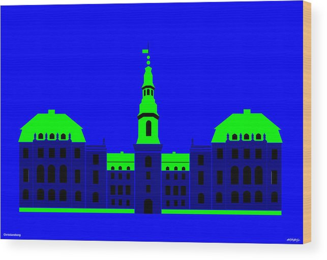 Wood Print featuring the painting Christiansborg Palace by Asbjorn Lonvig