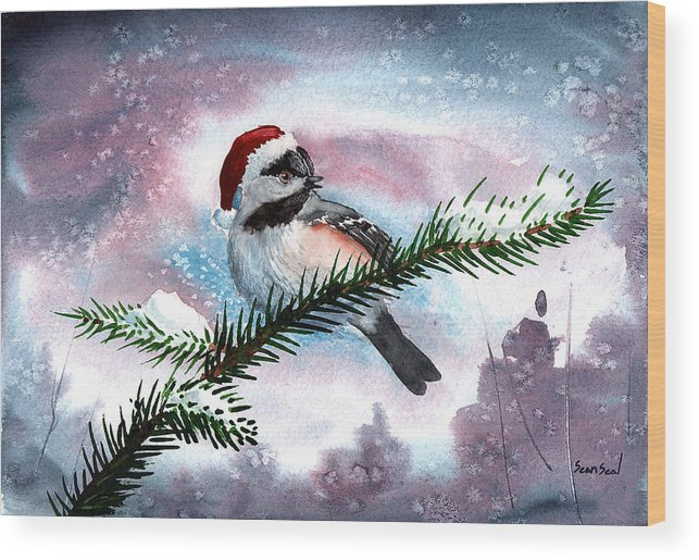 Birds Wood Print featuring the painting Christmas Chic by Sean Seal