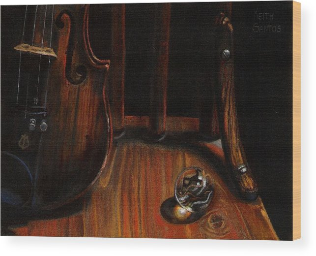 Violin Wood Print featuring the pastel Clarity by Keith Gantos