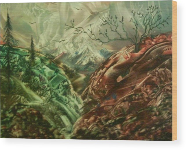 Landscape Wood Print featuring the painting Cloud Mountain by John Vandebrooke