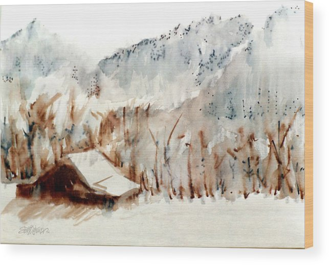 Cold Cove Wood Print featuring the mixed media Cold Cove by Seth Weaver