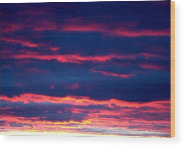 Sky Wood Print featuring the photograph Cold Front Sunset One by Ana Villaronga