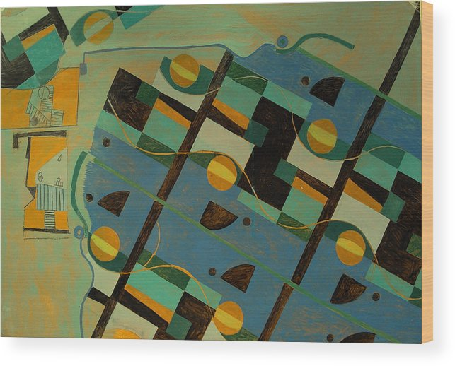 Abstract Art Wood Print featuring the painting Composition Xxi 07 by Maria Parmo